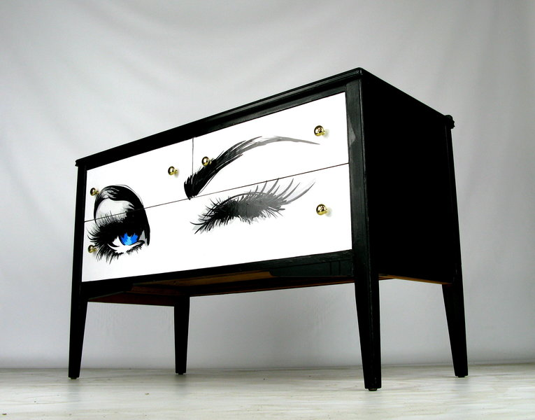 Upcycled Mid Century Sideboard With Eyes Decoupage