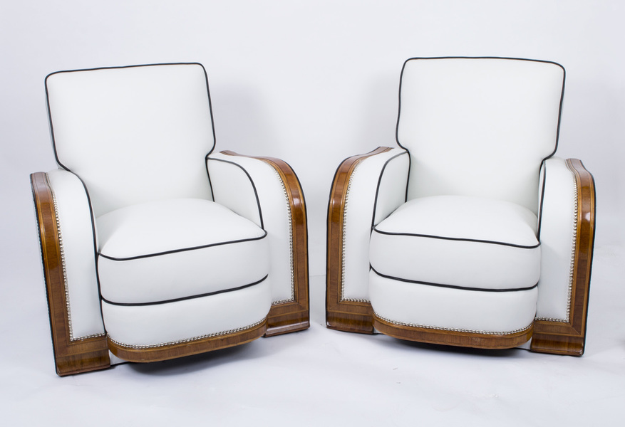 Antique Pair Art Deco Ivory Leather Armchairs C1930