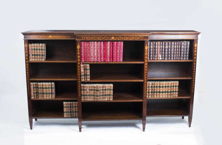 Antique Edwardian Inlaid Mahogany Open Bookcase C1900