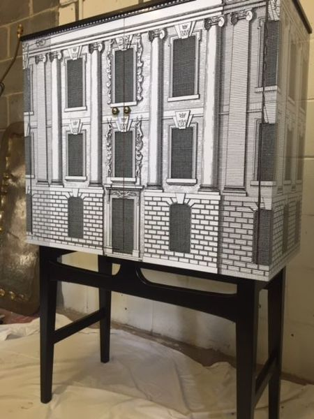 Vintage Drinks Bar/Cocktail Cabinet Fornasetti Style Design 1950s