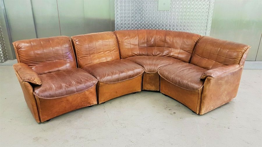 Danish Brown Leather Modular Corner Sofa Chair Vintage Mid Century Retro  60s 70s