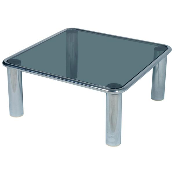 Astounding Mid Century Modern Chrome Coffee Table Glass Fume Top Mario Bellini For Cassina Home Interior And Landscaping Oversignezvosmurscom