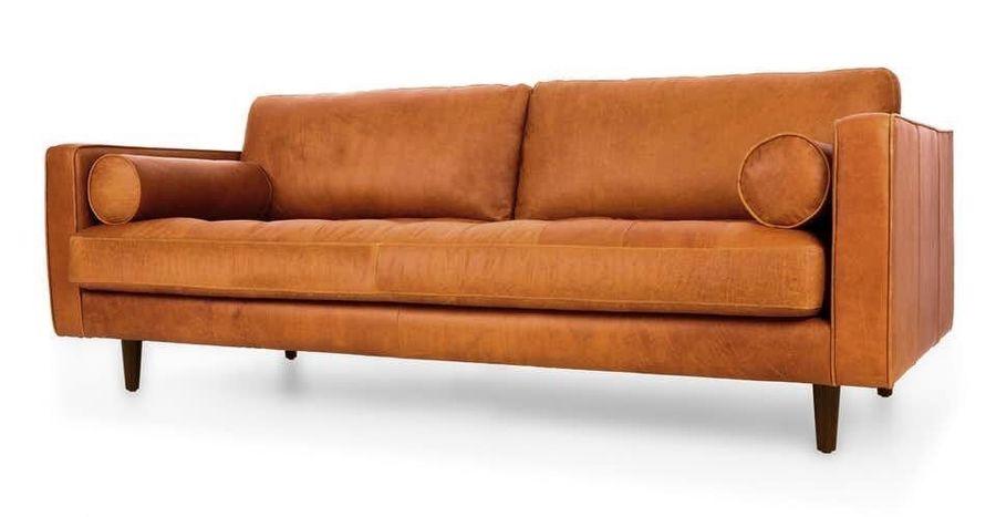 Mid Century Tan Leather 3 Seater Sofa