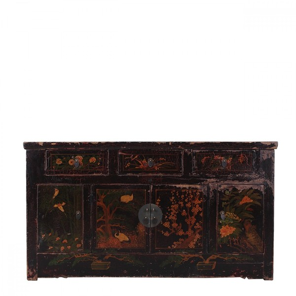Antique Hand Painted Chinese Sideboard C.1850