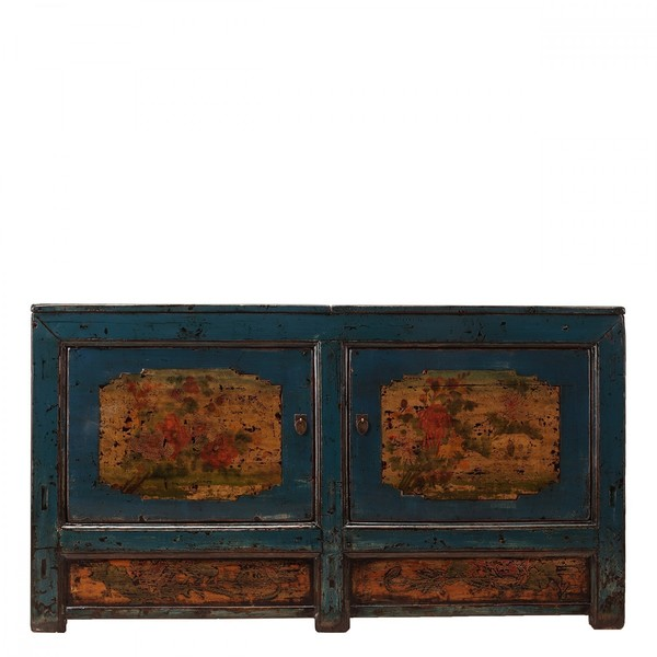 Handpainted Blue Sideboard With Decoration C.1920