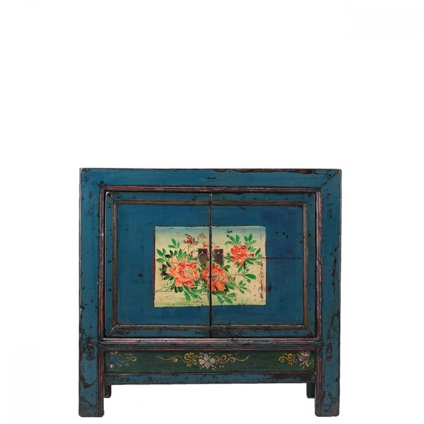 Antique Oriental Cabinet With Decoration C.1900
