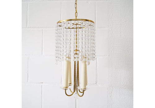 Chandelier Antique Four Flames With Glass Beads, Brass, Boho Lamp