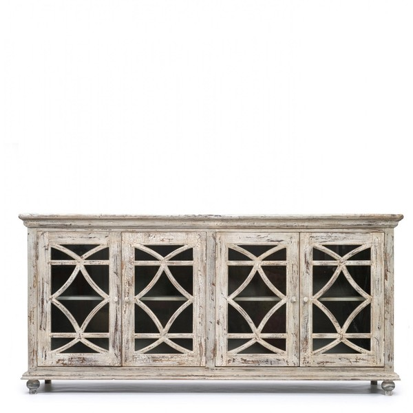 White Sideboard With Glass Panel Doors