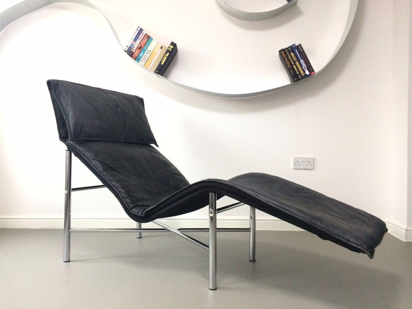 Genuine Design Modern Vintage Black Leather Chair Chaise Longue Tord Bjorklund