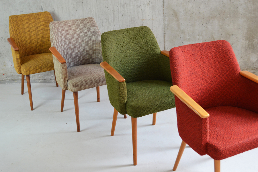 4 French 1960's Occasional Chairs