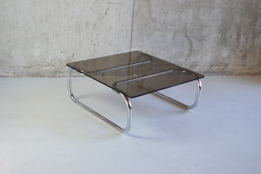 1970's Mid Century Chrome And Smoked Glass Coffee Table