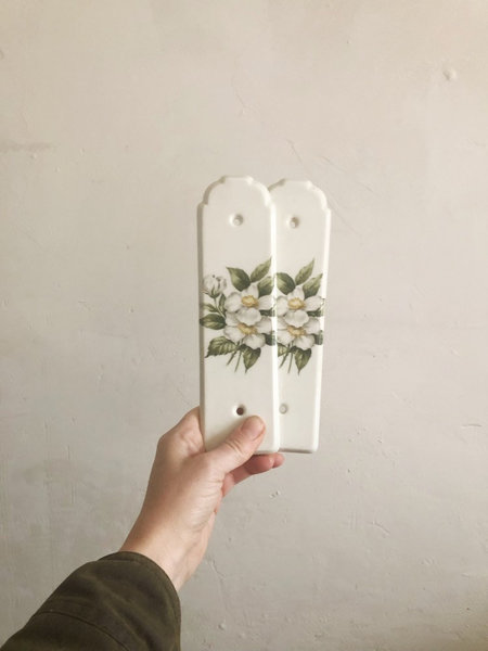 Pair Of Vintage Porcelain Door Plates