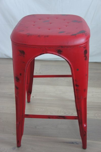 Red 1930's Style Tolix Metal High Stool