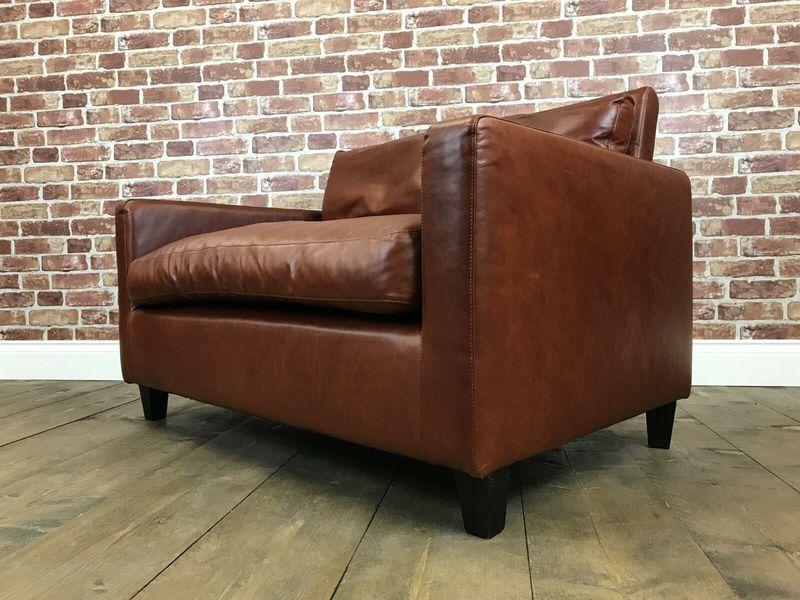 Pleasing Stunning Habitat Leather Loveseat 2 Seater Sofa Carson City Tan Armchair Settee Dailytribune Chair Design For Home Dailytribuneorg
