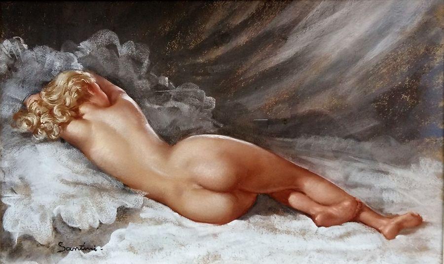 Pio Santini (1908 1986) Nude Pastel