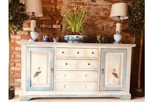 Thumb antique white sideboard decorated with vintage bird prints 0