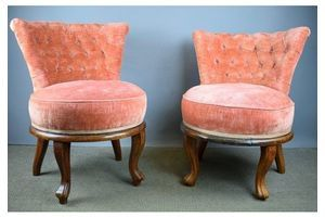 Thumb pair of french button back cocktail chairs 0