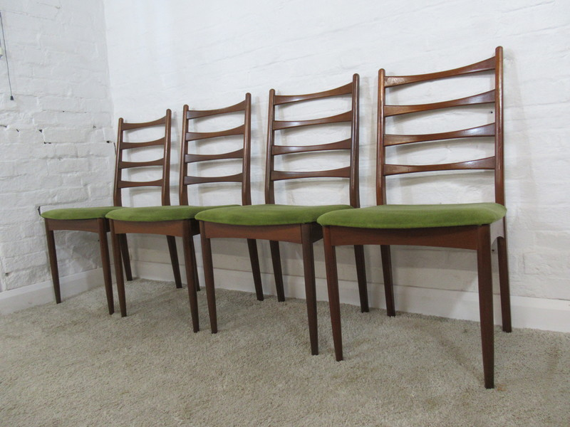 Mid 20th Century Greaves & Thomas Set Of Four Teak & Green Fabric Dining Chairs