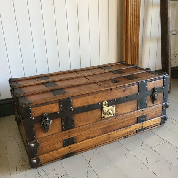 Antique Victorian Steamer Trunk Coffee Table Old Rustic Wooden
