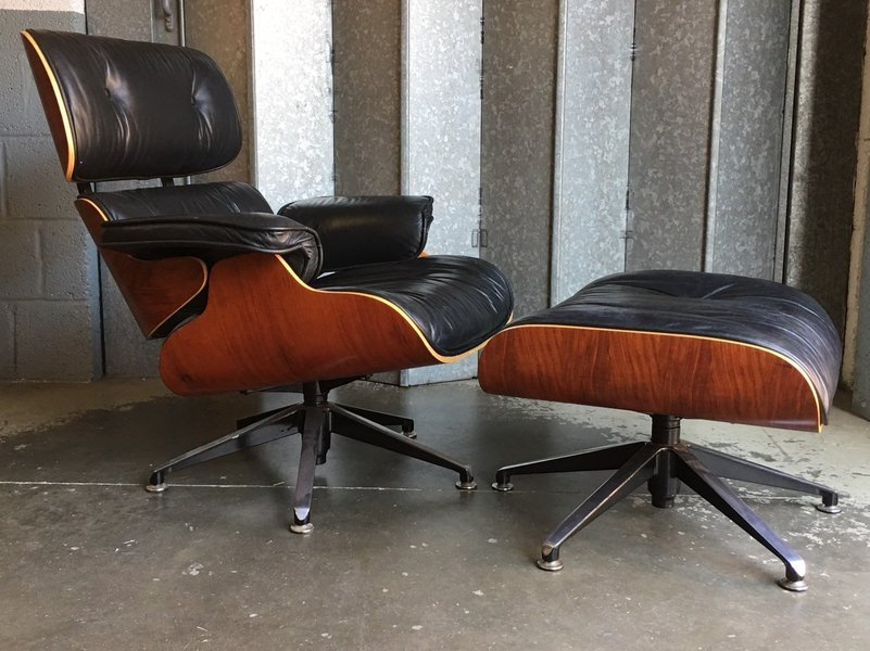 Terrific Eames Style Lounge Chair And Ottoman In Black Leather Pdpeps Interior Chair Design Pdpepsorg