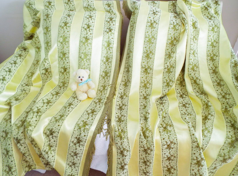 Vintage 1930s Curtains Pale Yellow And Olive Green Satin Brocade Curtains 1930s French Style Satin Brocade Curtains Olive Fringe Trim B
