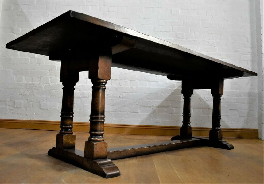 Antique Rustic Solid Oak Farmhouse Dining Table 8 Seater