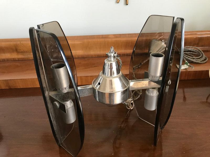 Vintage chrome and dark smoked glass pendant.Mid Century lighting.Rewired UKEUUSA Veca Fontana Arte style Italian 60s light