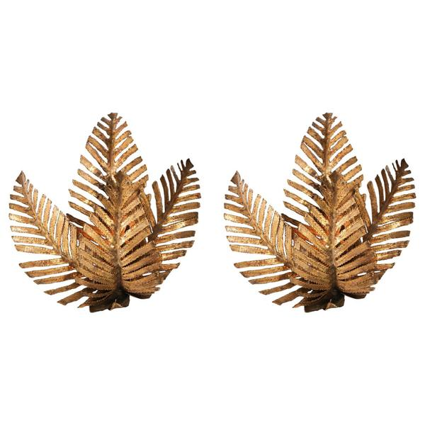 Pair Of Palm Tree Fixtures Handmade In Brass By Maison Jansen