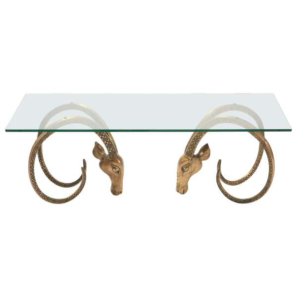 Hollywood Regency Ibex Coffee Table In The Manner Of Alain Chervet