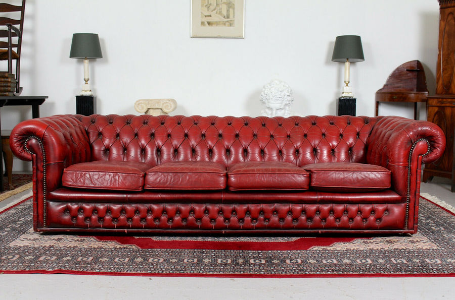 Tremendous Large Chesterfied Sofa 4 Seater Red Leather Button Tufted Vintage Bralicious Painted Fabric Chair Ideas Braliciousco