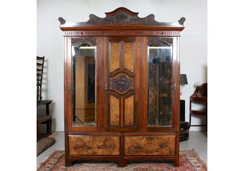 Armoires/wardrobes Ornate Victorian Double Mirror Door Wardrobe With Key 100% Guarantee Antique Furniture