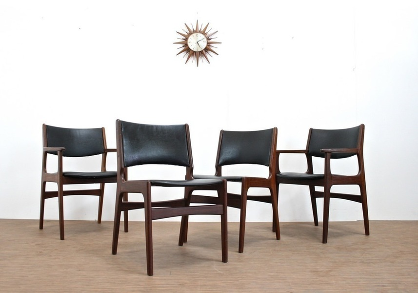4 Vintage 1970s Rosewood Dining Chairs By Erik Buck