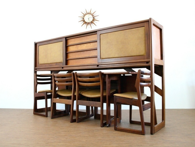 Vintage Elliots Of Newbury Danish Influence Credenza, Dining Table & Chairs