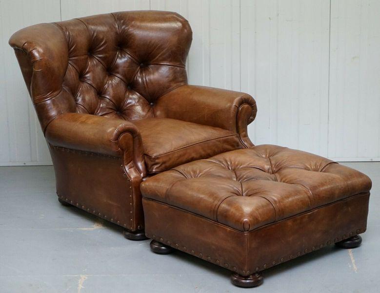 Cool Ralph Lauren Writers Aged Brown Leather Armchair Footstool Ottoman Short Links Chair Design For Home Short Linksinfo