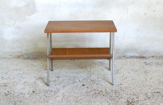 a430bf3729 Vintage Dutch Teak Veneer Side Table With Magazine Rack   Vinterior