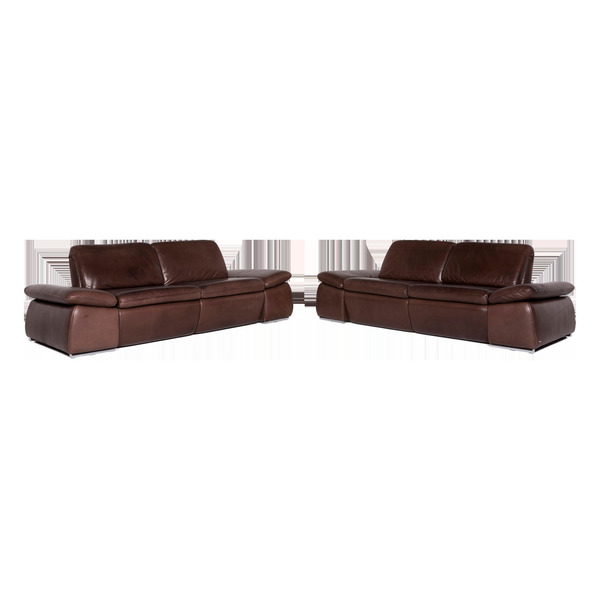 Koinor Kinley Designer Leather Sofa Set Brown Two Seater Couch #8943 photo 1