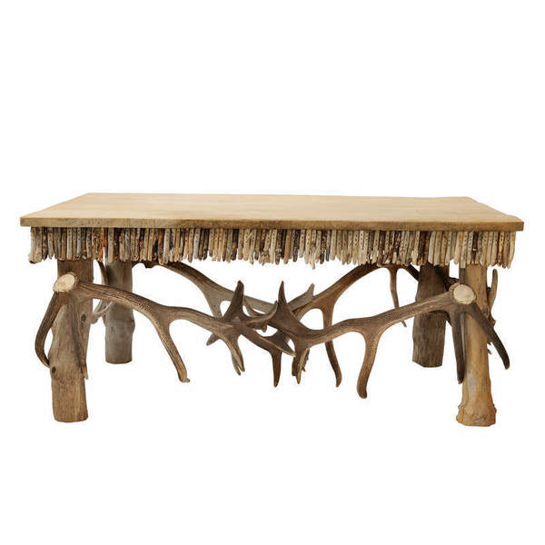 English Contemporary Artisan Antler And Driftwood Coffee Table