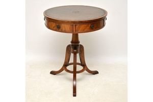 Thumb antique mahogany leather top drum table 1920 s 0