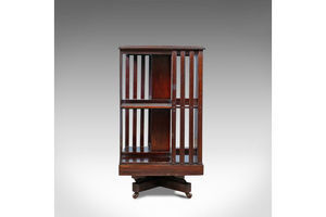Thumb antique revolving bookcase english edwardian walnut bookshelf circa 1910 0
