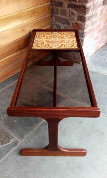 G Plan Tile & Glass Top Coffee Table On Minimalist Teak Frame photo 1