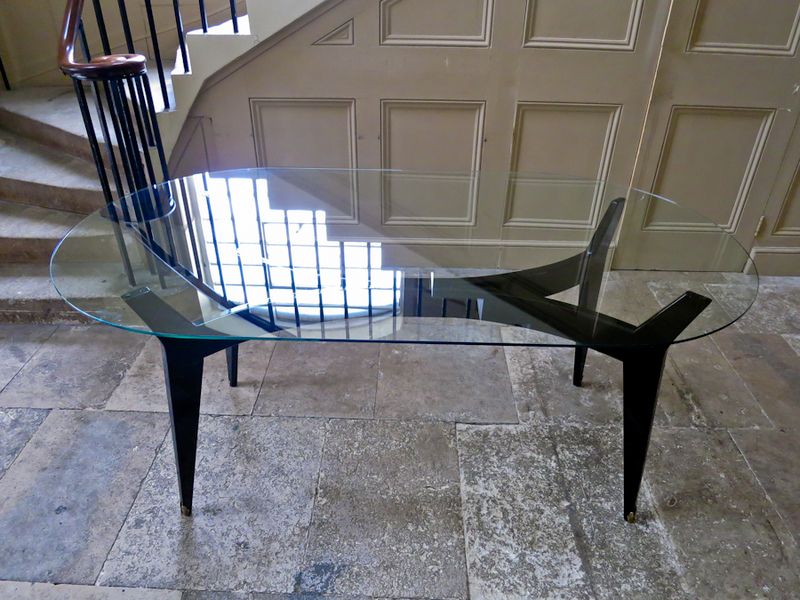 Italian Glass Top Dining Table With Brass Sabots photo 1