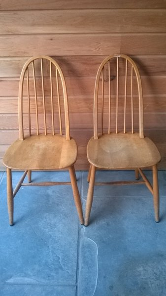 Pair Of Frederick Restall Stick Back Quaker Chairs