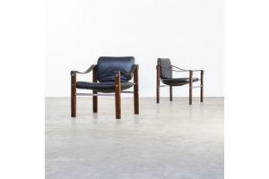 Thumb 70s maurice burke chelsea black leather fauteuil safari chair for pozza 0