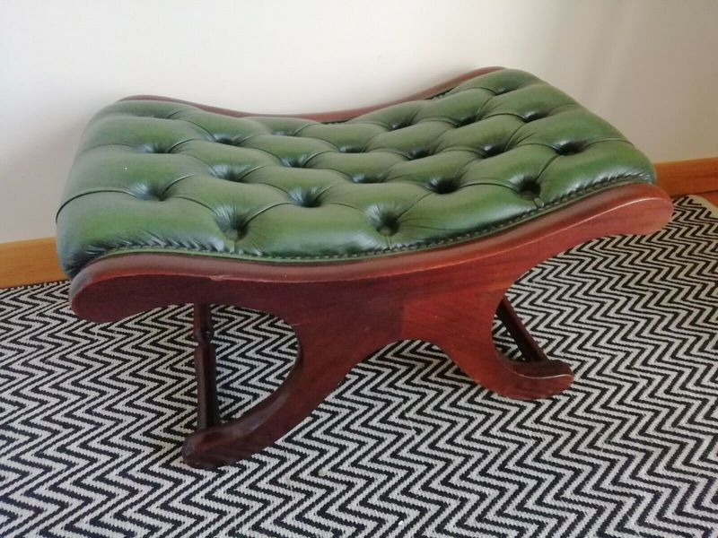 Awesome A Green Leather Chesterfield Saddle Foot Stool Lamtechconsult Wood Chair Design Ideas Lamtechconsultcom