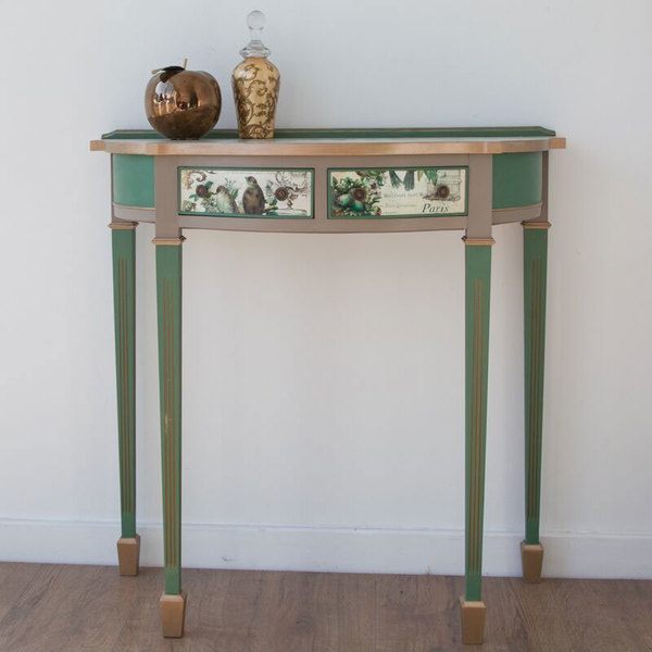 Demilune Console Table With Two Drawers With French Style Decoupage And Stencils photo 1