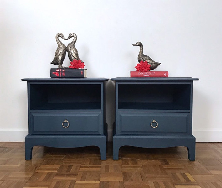 Dark Blue Bedside Drawers By Stag Minstrel Chest Of Drawers And