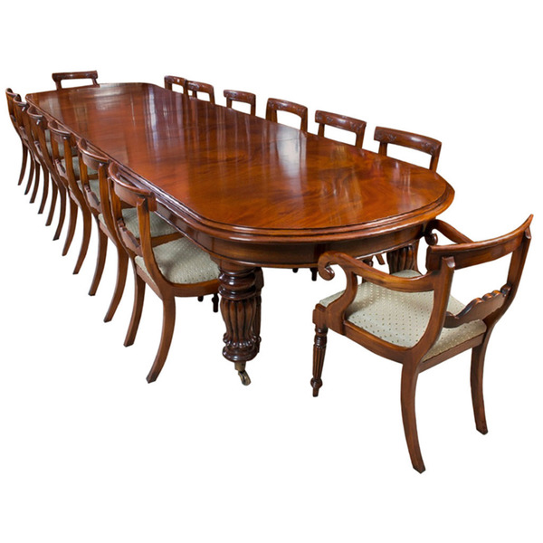 Vintage Victorian Mahogany Dining Table With 14 Chairs