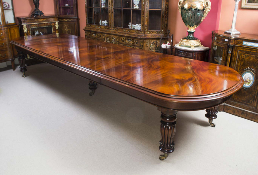 Vintage 14ft Victorian D End Dining Conference Table photo 1