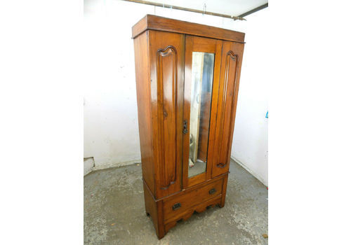 Antiques Alert Edwardian Art Nouveau/style Mahogany Single Wardrobe 100% Original