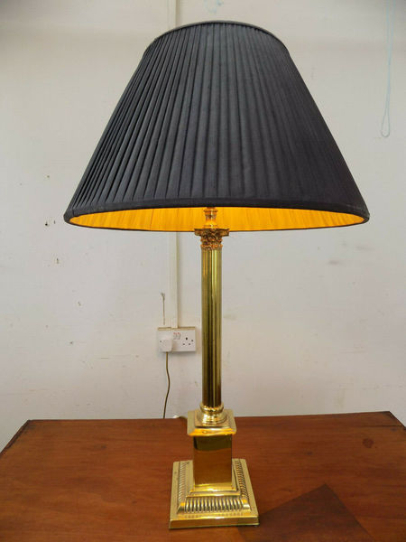 Large Table Lamp Antique Repro Black Shade Corinthian Column Gold Brass Light